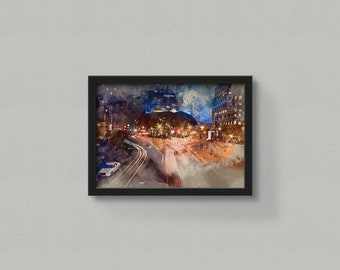 City Painting - Watercolor Painting - City Prints - City Art - Cityscape - City Wall Art - Watercolor City - Watercolor Cityscape - City