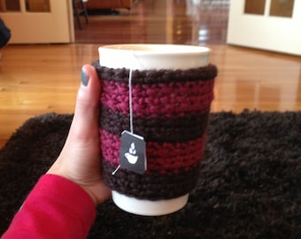 Brown and Pink Cup Cozy