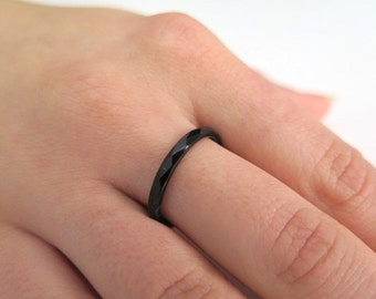 Black ring, Black Onyx ring, Stacking gemstone ring, Gemstone band ring, Everyday ring, Healing ring, Black thin ring, Stackable ring