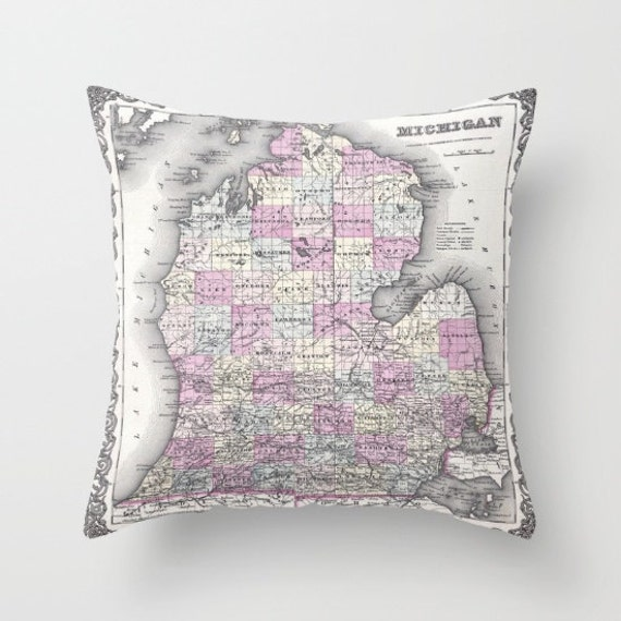 Antique Michigan Map Throw Pillow, Vintage Map Pillow, Old Michigan Map Decor, Office Pillow, Office, Dorm, Geography, Michigan Pillow Case