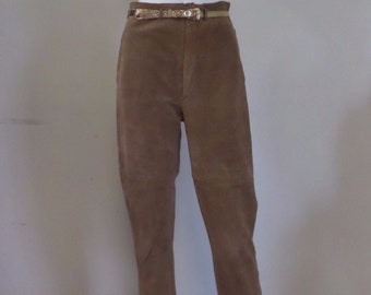 Perforated Suede Leather Taupe Pants | Vintage 80's 90's