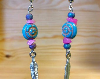 Pinky Blues Feathered Blossom Dangle Earrings