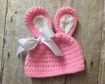 Newborn Bunny Hat, Baby Bunny Hat, Newborn Easter Hat, Baby Easter Hat, Newborn Crochet Bunny Hat, Easter Photo Prop, Bunny Photo Prop
