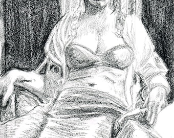 Seated Female Figure Drawing