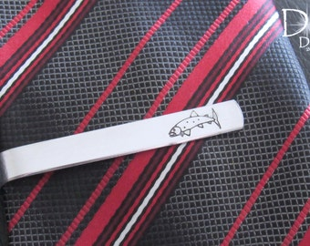 Fish Tie Clip, Fish Tie Bar, Fishing Tie Clip, Fishing Gifts, Husband Gift, Boyfriend Gift, Custom Tie Bar, Engraved Tie Clip, Fishing