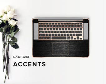 Brushed Black and Rose Gold Chrome Detailing Inner Keyboard Tray Vinyl Skin          - Platinum Edition