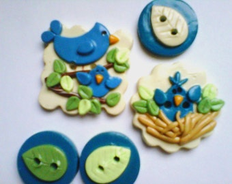 Button Bluejay and Baby handmade polymer clay button set   ( 5 )