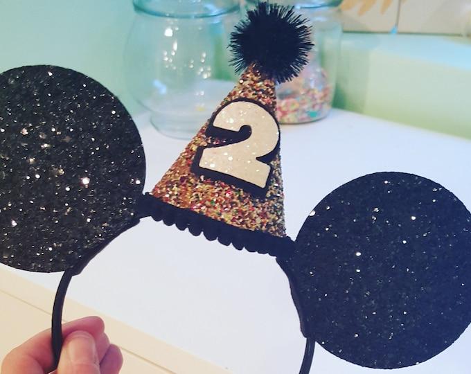 Glittery Mouse Ears Headband | Birthday Ears | Minnie Mouse Birthday | Minnie Mouse Headband | Minnie Ears | Mickey Mouse Birthday | Minnie
