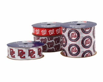 Offray 4-Pack MLB Washington Nationals Ribbon, White/Red/Blue