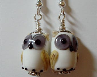 White and Tan Lampwork Glass Owl Earrings  on Silver   Whooo Can be without these