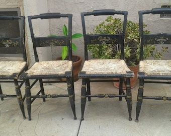 Hitchcock Chairs W Original Rush Seats Set Of 4