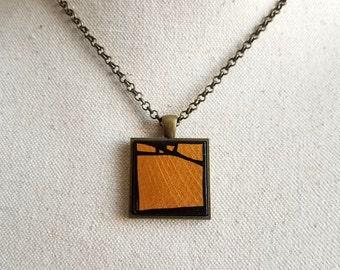 Gold Geometric Wood Pendant Necklace