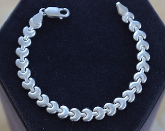 """Sterling Silver Chain Link Bracelet, Vintage, 7-3/8"""", """"Italy"""" (AO4)"""