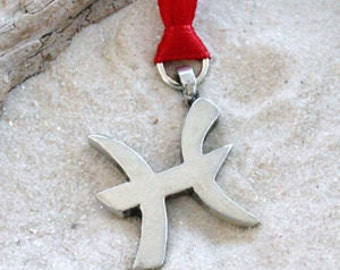 """Pewter Pisces """"The Fish"""" Zodiac Astrology Sun Sign of February March Christmas Ornament and Holiday Decoration (27B)"""