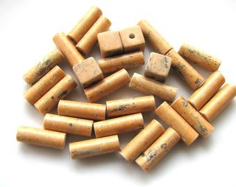 Ceramic beads, tubes, cubes, 22 beads, tan, vintage beads, Jewelry supply B-1761
