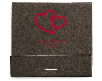 Set of 50 Interlocking Hearts Matchbooks - Wedding Matchbook - Personalized Wedding Matches - Custom Matchbook - Favors - Wooden Matches