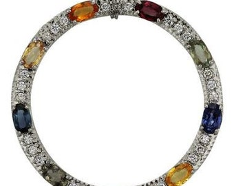Circle Pendant With Blue Sapphires, Pink Sapphire, Orange Sapphire, Yellow Sapphires, Green Sapphires