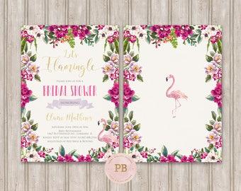 Printable Flamingo Bridal Shower Invitation, Bridal Shower Invitation, Flamingo Baby Shower Invitation, Flamingo Birthday Invitation