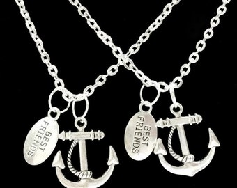 Best Friend Gift, Best Friend Necklace, 2 Necklaces, Anchor BFF, Best Friend Forever, Sisters Necklace Set