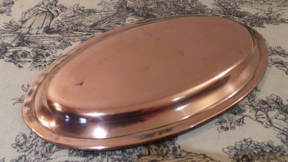 "French Antique Copper Gratin Oven Dish Pie Dish 26.5cm 10.5"" Super Antique Copper Rivets Hand Made Missing Ring Fabulous Patina 'Pie Dish'"