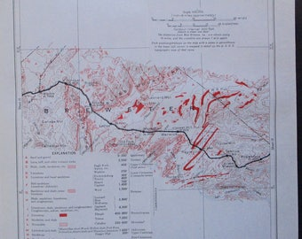 1933 Alpine, Strobel, Lenox, Marathon, Haymond, Maxon, Tesnus Texas map, Brewster County TX. Antique Original Railroad Map Southern Pacific