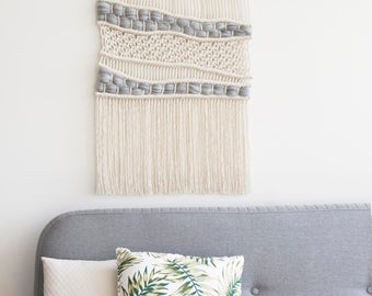 "Large Macrame Wall Hanging - Woven Wall Hanging - Macrame Tapestry -Bohemian Wall Hagning - Macrame Curtains -Home Decor - ""ORGANIC GRAY"""