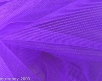 Tulle Netting Dress Fabric 140cm Wide 30 Colour Range - Violet