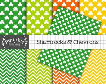 8.5x11 St Patricks Day Digital Paper, Shamrock Paper, Chevron Scrapbooking Paper, Instant Download, Print at Home, Commercial U