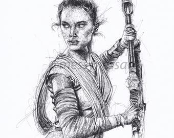 Star Wars Rey Original Fine Art Print
