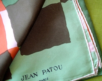 Vintage JEAN PATOU Silk Scarf - Geometric Pattern in Olive Brown Persimmon Pink - Made in France - Soie Tag
