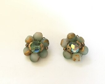 Mid-Century Blue Green Cluster Clip On Earrings with Gold Accents
