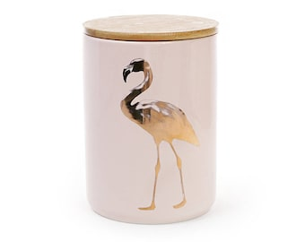 Porcelain Jar Flamingo with a bamboo lid, color - pink and gold