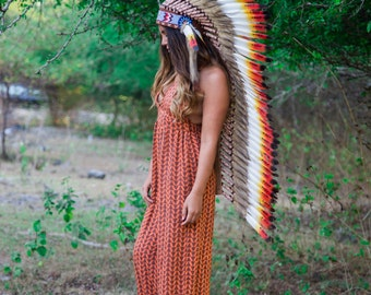 The Original - Real Feather Yellow/ Red Chief Indian Headdress Replica 125cm, Native American Style Costume Hand Made War Bonnet Hat