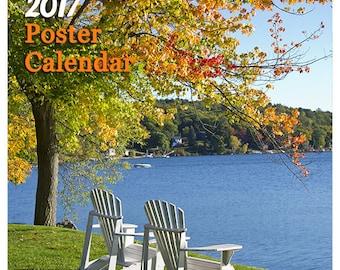 2017 Lake Winnipesaukee Poster Calendar and 11x14 Format Frame