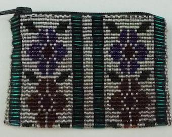 Flower Design Beaded Coin Purse Loom Beads Native American Regalia