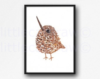 Bird Print Kiwi Watercolor Painting Print Cute Kiwi Bird Art Print Watercolor Print Bedroom Wall Decor Wall Art Home Decor Kiwi Print
