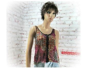 grunge top - sleeveless top - summer top -spaghetti strap top - Bohemian top  - small  - # S T 8