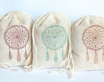 Dream Catcher Boho Bag Set 15 with stamp gift sack birthday party baby shower goodies treat bag