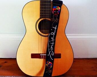 Jimi Hendrix Custom Made Guitar Strap/ Hand Embroidered/ Personalized/ or Jimi Hendrix Signature.