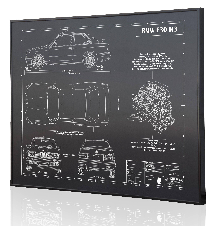 BMW E30 M3 Laser Engraved Wall Art Poster. Blueprint Sign