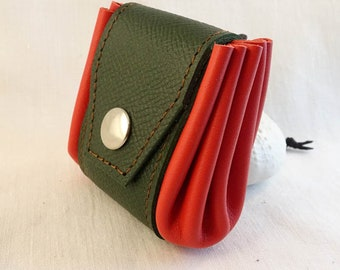 Leather flap purse. Mirly leather - France