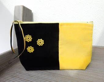 Makeup case, for handbag, black yellow flower