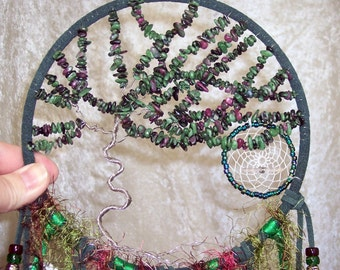 Windswept Ruby-in-Zoisite TREE of LIFE - Dreamcatcher in Dark Green and Peacock by Feathered Dreams