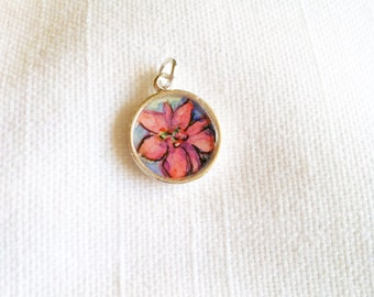 Poinsettia hand painted watercolor charm pendant illustration