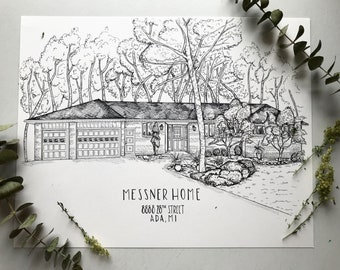 Black and White Custom Home Portrait