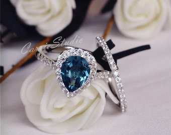 7*9mm Natural London Blue Topaz Ring Set Engagement Ring Set Wedding Ring Set 925 Sterling Silver Ring Anniversary Ring Set
