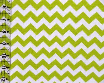 Riley Blake Lime Chevron Cotton Spandex Knit Fabric  - Lime Small Chevron Stretchy Knit - Kids Cotton Lycra Knit Fabric -