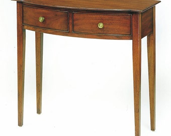 1814S Console Table With Shelf In Mahogany, Sand Finish, Severe Antique  Distressing