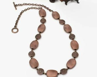 Copper Necklace Beaded Copper Necklace Copper Bead Necklace Beaded Contemporary Necklace Statement Necklace Sweater Necklace Womens Gift