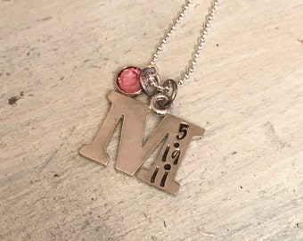 Initial necklace. Push Present. Mother's necklace.  Birthstone Necklace. Hand Stamped date necklace. Gift for her. Mother's day gift